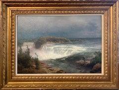 """Hermann Herzog, """"Horseshoe Falls and Goat Island"""", c. 1875, Signed, O/C"""