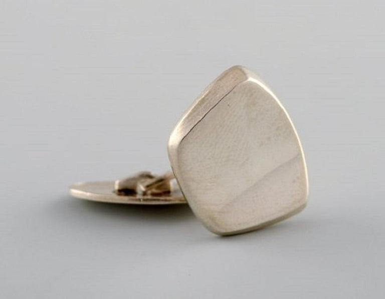 Men's Hermann Siersbøl, Denmark, a Pair of Modernist Cufflinks in Sterling Silver For Sale