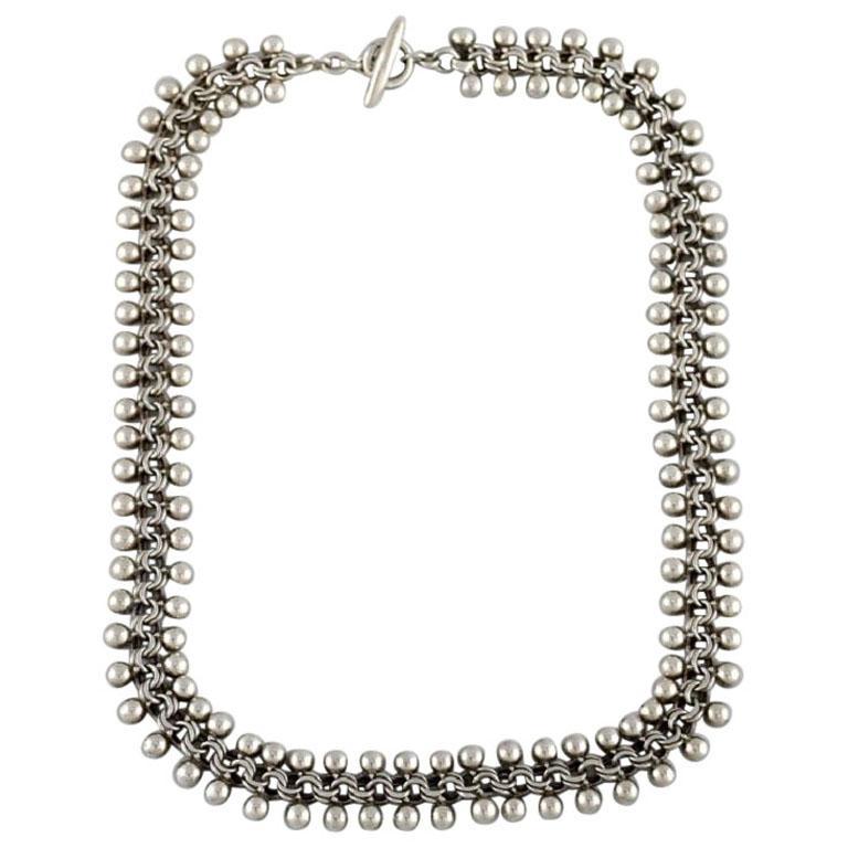 Hermann Siersbøl, Denmark, Modernist Necklace in Sterling Silver, Danish Design For Sale