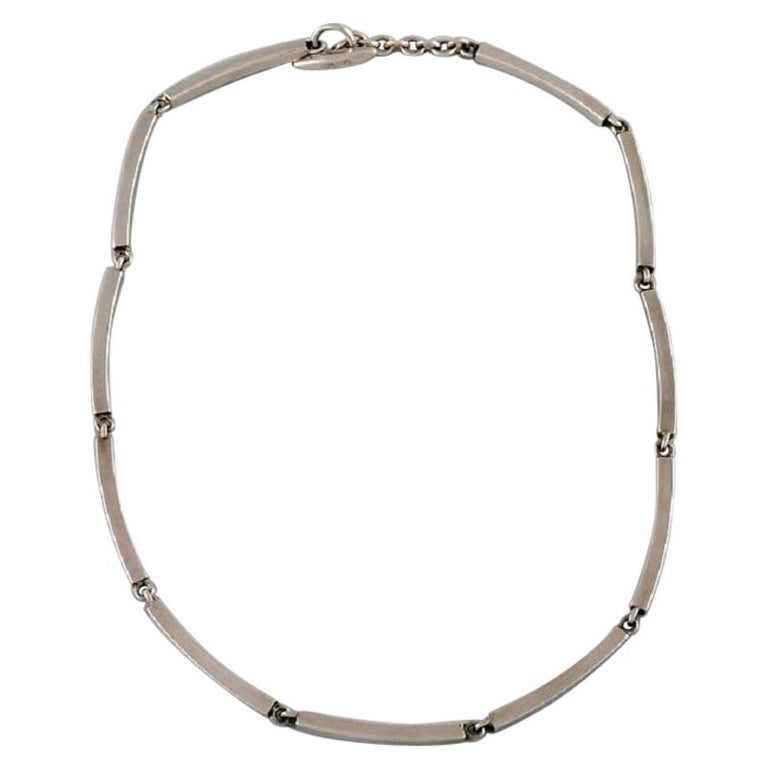 Hermann Siersbøl Denmark Modernist Necklace in Sterling Silver, Mid-20th Century For Sale