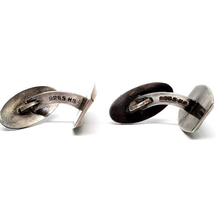 Men's Hermann Siersbol Large Sterling Silver Cuff Links Denmark For Sale