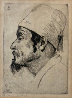 German Artist Impressionist Etching Judaica Jewish Sephardic Jewish Bezalel Era
