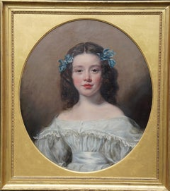 Portrait of a Girl with Blue Ribbons - Victorian art oval portrait oil painting
