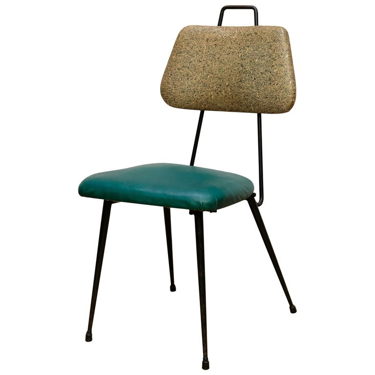 Hermanos Vidal Skie and Lacquered Metal Mid-Century Modern Chair, circa 1950 For Sale