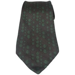 Hermèes black and green silk tie