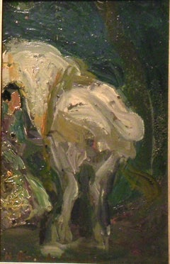 horse and gypsy. time of Paris. Original Certificate impressionist painting