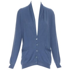 HERMES 100% cotton blue H mother of pearl button dual pocket cardigan sweater XS