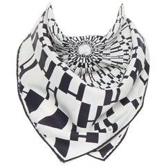 HERMES 100% silk black white geometric H silk print square handkerchief scarf