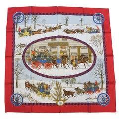 Hermes 100% Silk L'Hiver en Poste Horse & Carriage Scarf