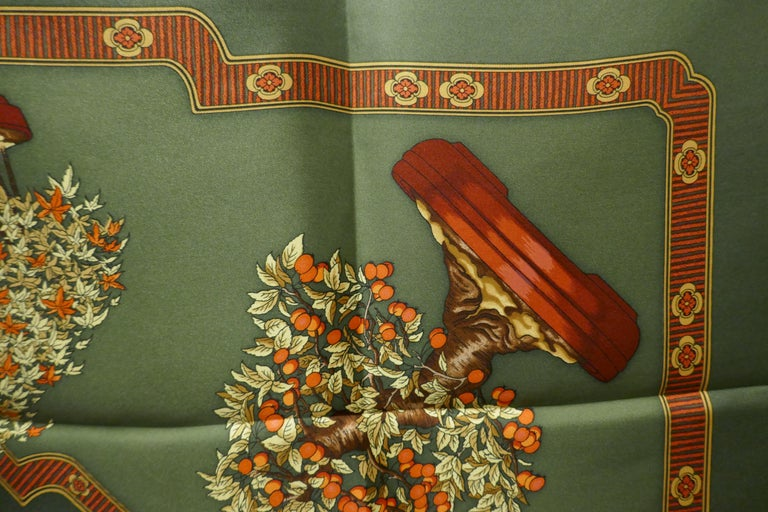 "Hermes 100% Silk Scarf "" Les beaux Jours de Bonsai"" by  Catherine Baschet 1991 For Sale 6"