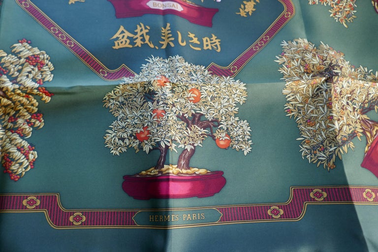 "Hermes 100% Silk Scarf "" Les beaux Jours de Bonsai"" by  Catherine Baschet 1991 In Excellent Condition For Sale In Chillerton, Isle of Wight"