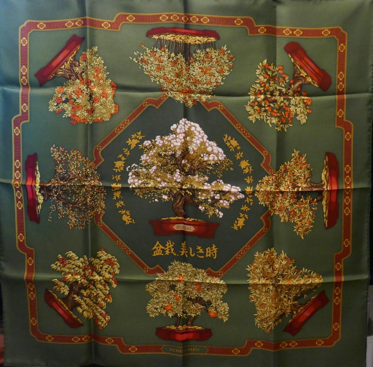 "Hermes 100% Silk Scarf "" Les beaux Jours de Bonsai"" by  Catherine Baschet 1991 For Sale 2"