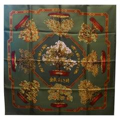 """Hermes 100% Silk Scarf """" Les beaux Jours de Bonsai"""" by  Catherine Baschet 1991"""