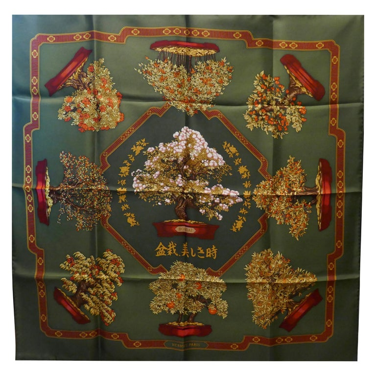 "Hermes 100% Silk Scarf "" Les beaux Jours de Bonsai"" by  Catherine Baschet 1991 For Sale"