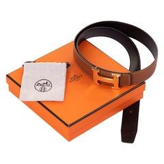 Hermes 100cm Reversible Belt in Black Box & Sabel Togo Hide with Gold 'H' Buckle