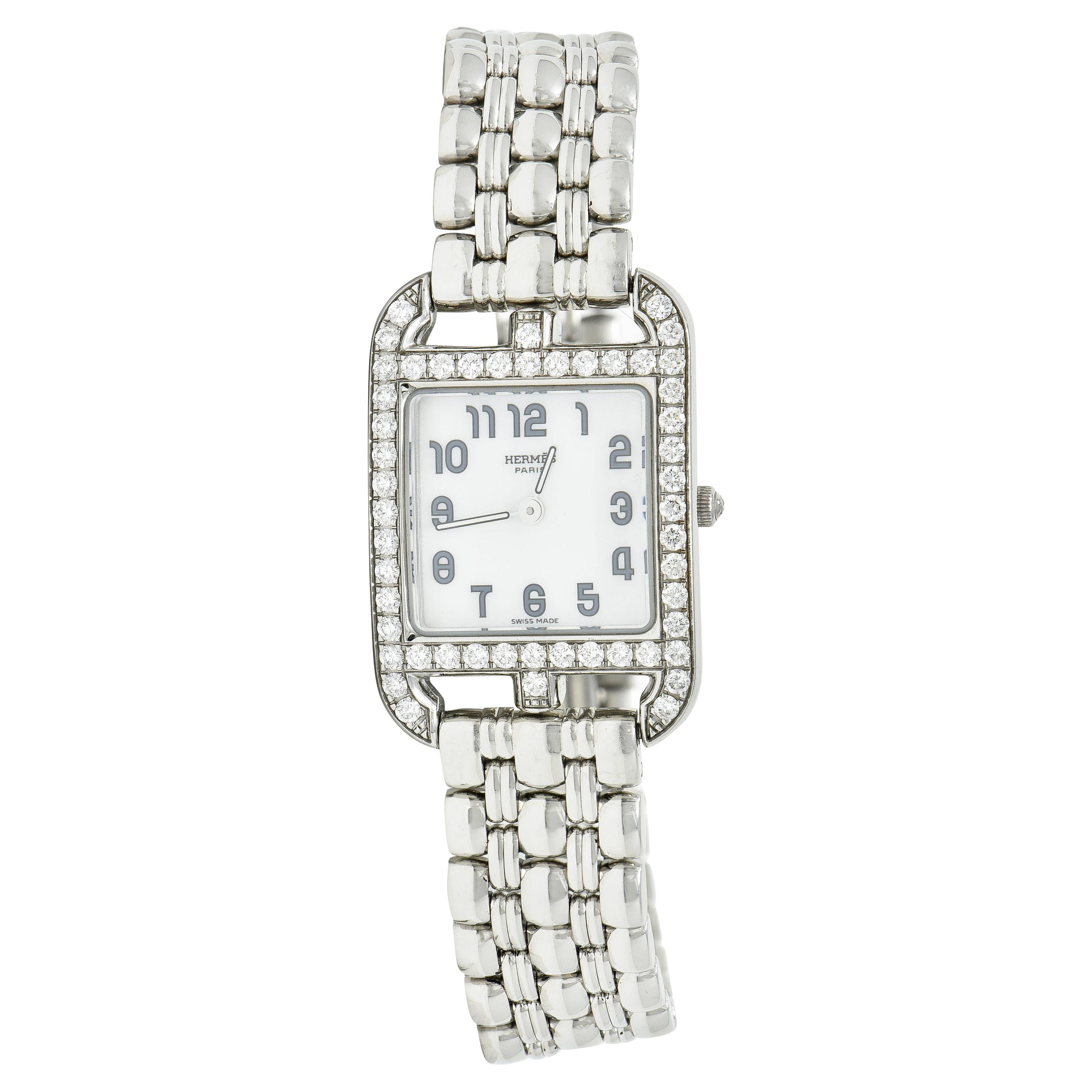 Hermes 1.25 Carats Diamond Stainless Steel Cape Cod Watch Bracelet