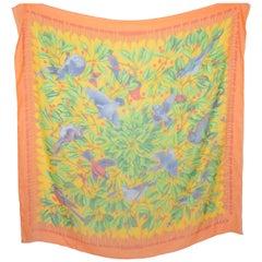 "Hermes 140cm ""Les Merises"" Cherry Print Orange Silk Chiffon Scarf"