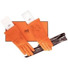Hermès 175th Anniversary Femme Astuce Orange Gloves New in Box Size 7