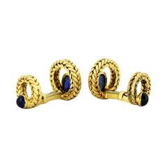 Hermès 18 Karat Gold Cufflinks with Natural Cabochon Blue Sapphires, 1930s