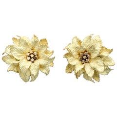 Hermès 18 Karat Gold Flower Earrings