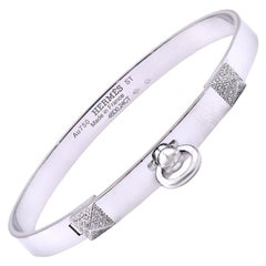 Hermes 18 Karat White Gold Diamond Collier De Chien Bracelet