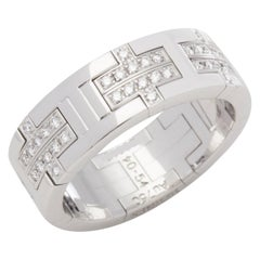 Hermès 18 Karat White Gold Kilim Diamond Ring