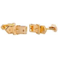 Hermès 18 Karat Yellow Gold Buckle Cufflinks