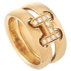 Hermès 18 Karat Yellow Gold Diamond Ring