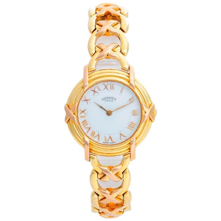 Hermès 18 Karat Yellow Gold Ruban Ladies Watch For Sale