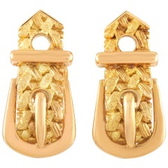 Hermès 18 Karat Yellow Gold Textured Buckle Clip-On Earrings