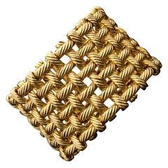 Hermes, 18ct Gold Flexible Open Basket Weave Cuff Bracelet
