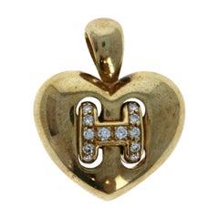 Hermes 18k Yellow Gold Diamond H Heart Pendant 7.4g
