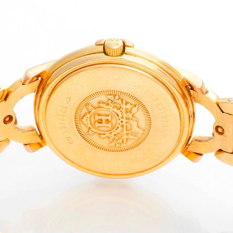 Women's Hermès 18 Karat Yellow Gold Ruban Ladies Watch For Sale
