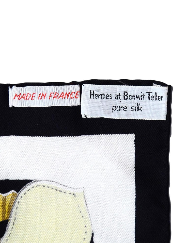 Women's or Men's Hermes 1959 Vintage Panache Fantaisie by Hugo Grygkar 90 cm Silk Scarf For Sale
