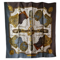 "HERMÈS 1967  Silk Scarf designed by Christine Vauzelles ""Selles a Housse"""