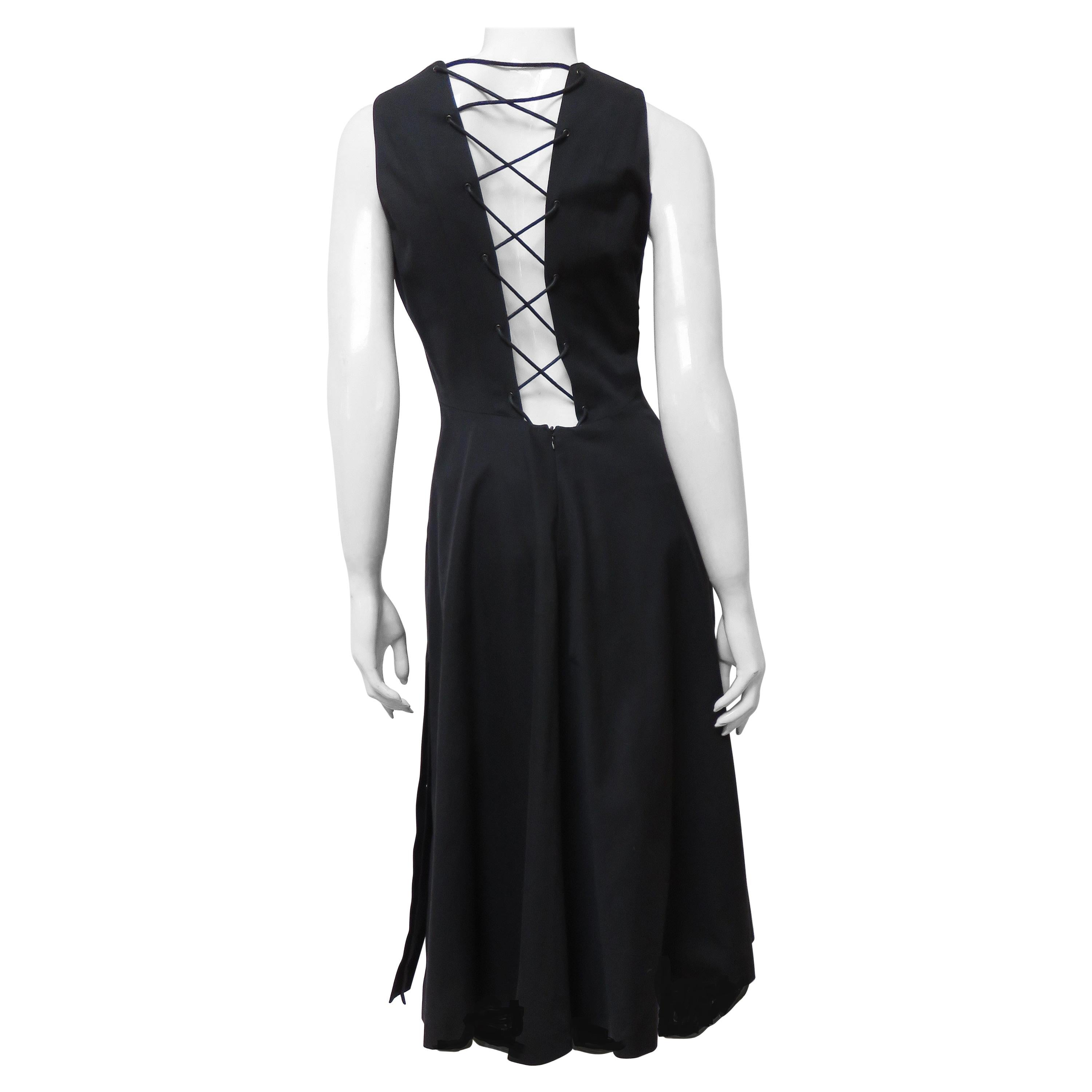Hermes 1970s Dress with Lace up Back