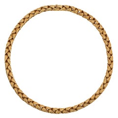 Hermès 1970s Woven Gold Collar Necklace