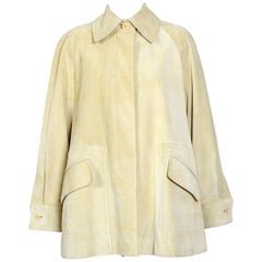 Hermes 1980s vintage pastel pistachio/yellow suede swing style jacket
