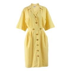 Hermés 1980s Vintage Yellow Cotton Day Dress