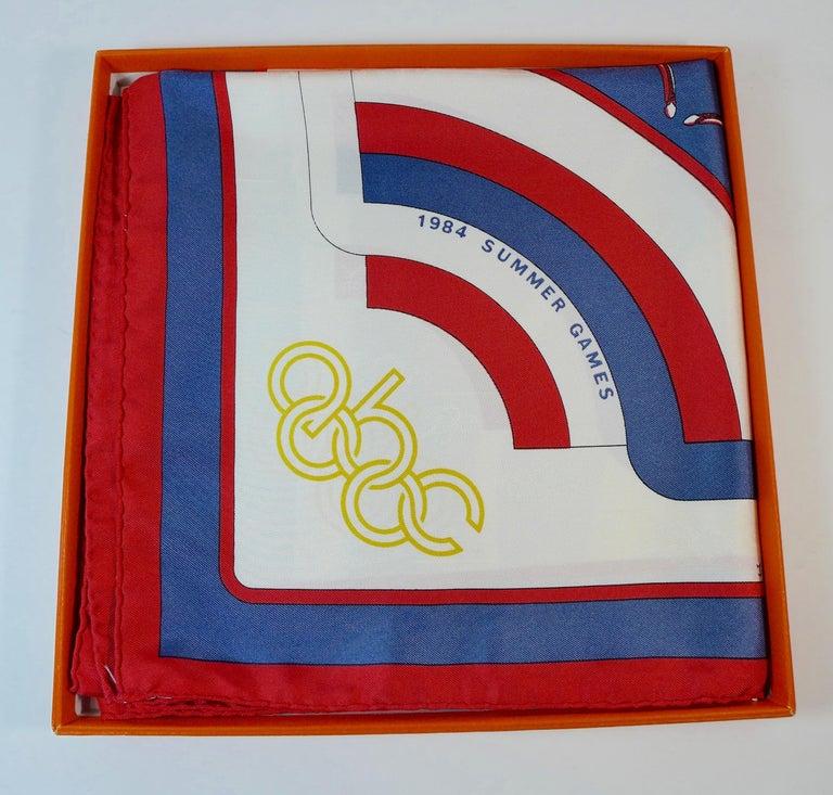 Beige Hermès 1984 Summer Olympics Silk Scarf For Sale