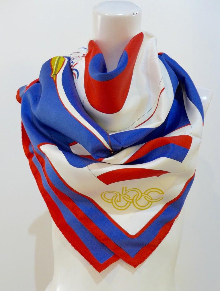 Women's or Men's Hermès 1984 Summer Olympics Silk Scarf For Sale
