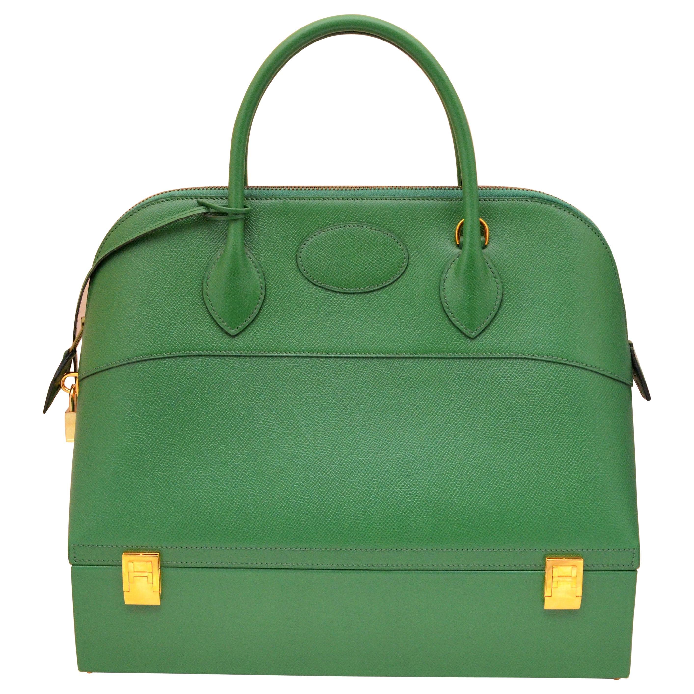 Hermes 1985 Green Courchevel Macpherson Handbag