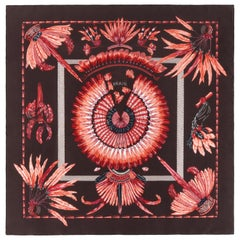 """HERMES 1988 Laurence Bourthoumieux """"Brazil"""" Feathers Silk Square Scarf w/ Box"""