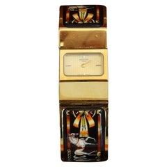 Hermés 1990s Cheval Horse Enamel Loquet Watch