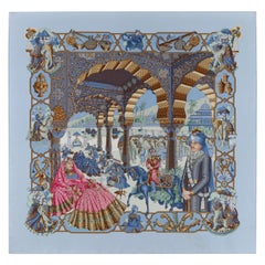 "HERMES 1996 ""Splendeur Des Maharajas"" Blue Scenic Royal Indian Palace Silk Scarf"