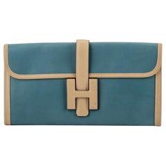 Hermes 2 Tone Jige Elan Blue Cream Clutch Bag