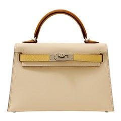 Hermès 20 cm Epsom Mini Kelly Craie Jaune Gold with Palladium Special Edition