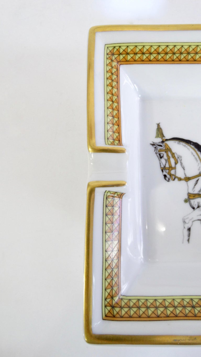 Women's or Men's Hermés 2000s Decorated Cheval Horse Porcelain Tray For Sale