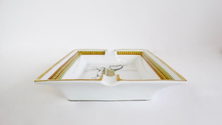 Hermés 2000s Decorated Cheval Horse Porcelain Tray For Sale 1