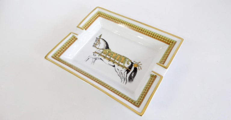 Hermés 2000s Decorated Cheval Horse Porcelain Tray For Sale 3